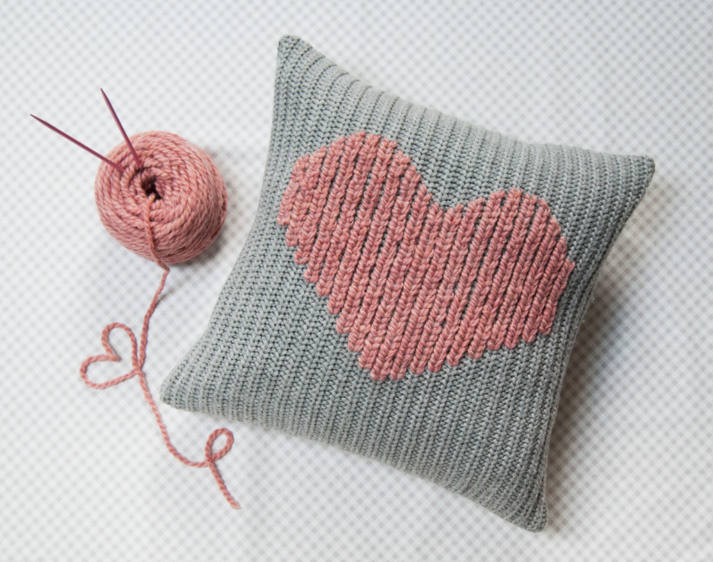 Knitting Pattern Heart Cushion : How to Make a Duplicate Stitch Heart Pillow / Amy Alan / Really Handmade